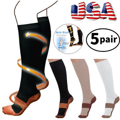 (5 Pairs) Copper Infused Compression Socks 20-30mmHg Graduated Support Men Women