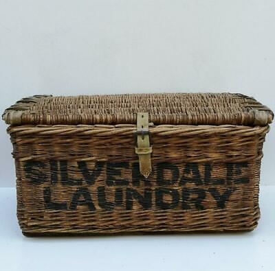 Victorian Antique Silverdale Laundry Basket bound leather wooden