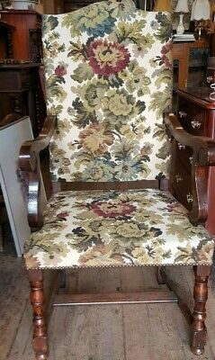 Carvers Armchairs French Tapestry Oak Vintage Pair Antique