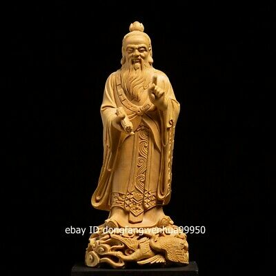 Boxwood Hand Carved Chinese Famous Taoist leader Laozi Lao-tzu Old Man Statue