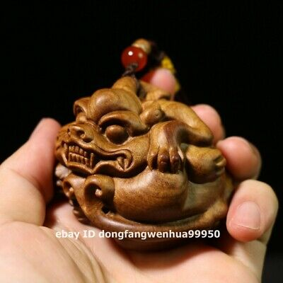 5.6 cm Chinese sandalwood wood exorcise evil spirits Foo dog lion Pixiu Pendants
