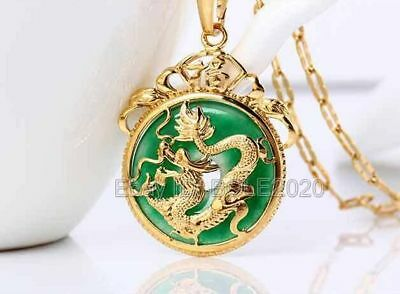 Beautiful Green Jade Inlay Gold Plated Carved Dragon Pendant + Chain Necklace