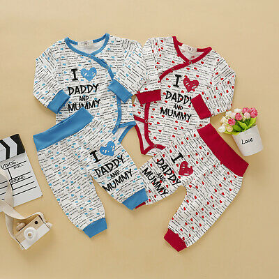Newborn Baby Girl Boy Long Sleeve Heart Romper Pants Outfits Autumn Clothes Lot