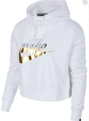 NWT NIKE SPORTSWEAR RALLY FUNNEL NECK METALLIC HOODIE