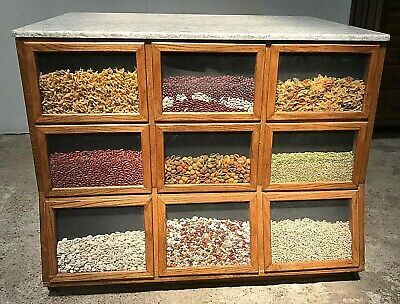 Awesome 4' Country / General Store Oak Seed Cabinet with Granite Top
