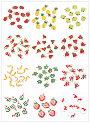 10Pcs Fruit Star Christmas Tree Mixed Enamel Pendant Charm DIY Jewelry Findings