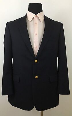 Brooks Brothers 41R Wool Blazer Sport Coat Navy Blue w/Gold Buttons 346 014