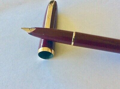 🔥 SHEAFFER'S BURGUNDY SNORKEL FOUNTAIN PEN & BOX Vintage Gold Trims Used Cond