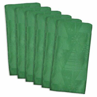 Set of 6 Christmas Holiday Trees Table Napkin Tablecloth Washable Elegant Green