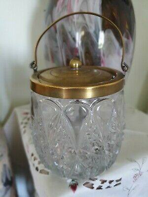 Vintage Cut Crystal Biscuit Barrel EPNS