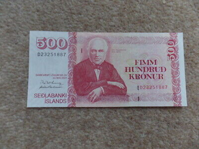 Rare Collection Iceland 500 Kronur Banknote 2001 Uncirculated     Very Good Gift