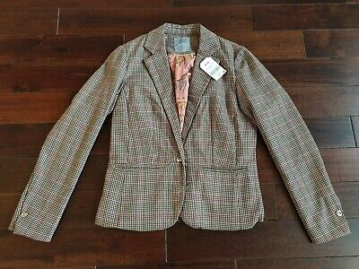 NEXT Girls Tweed Jacket Age 13 BNWT Brown Pink Check RRP £31 Smart Country