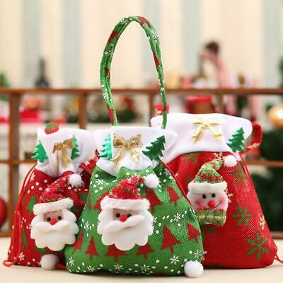 Christmas Gift Handbag Santa Claus Snowman Gift bag Xmas Drawstring Candy Bag US