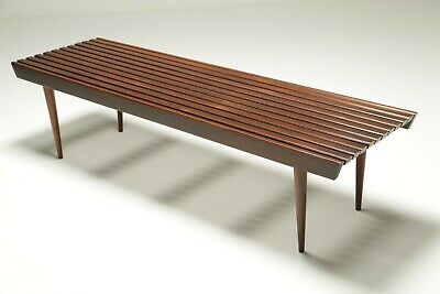 Vintage George Nelson Style Walnut Slatted Bench mid-century *FREE UK DELIVERY*