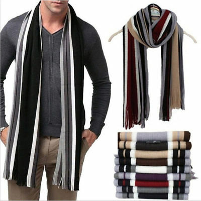 Hot Mens Cashmere Scarf Winter Warm Soft Fringe Striped Tassel Long Shawl Wrap Y