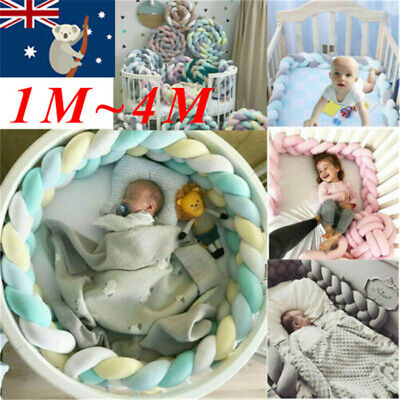 Infant Plush Crib Bumper Bedding Bed Cot Braid Pillow Pad Protector Bumpers AU