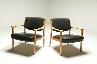 Danish Beech Frame Leather Armchairs (2) Vintage Mid-century *FREE UK DELIVERY*