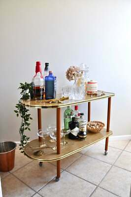 Large mid century modern drinks trolley or bar cart on caster wheels
