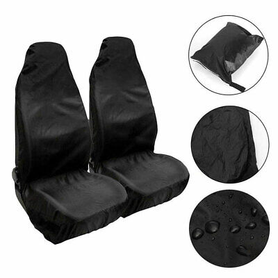 2Pcs Universal  Heavy Duty High Quality Black Waterproof Front Car Seat Covers