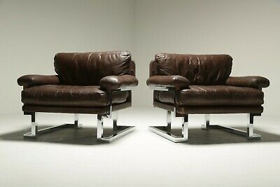 Pieff Mandarin Brown Leather and Chrome Armchairs Vintage *FREE UK DELIVERY*