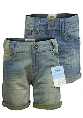 Girls Faded Distressed Denim Shorts With Turn Up & Adjustable Waistband 6-10Year