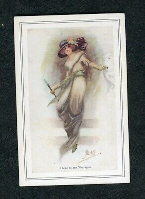 c1990s Nostalgia Card: Illustrated Glamour View of Edwardian Young Lady