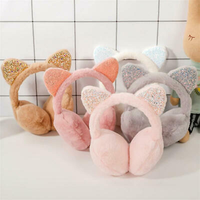 Kids Sequins Cat Ears Plush Warm Earmuffs Girls Winter Cold Ear Warmer