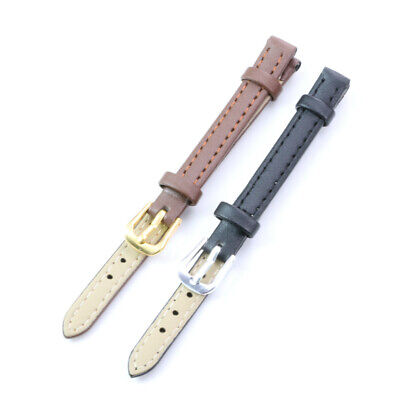 Womens Ladies Girls Plain PU Leather Watch Band Strap 8mm 10mm 12mm Black Brown