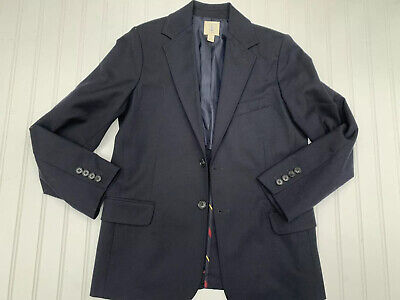 Lands End Boys Classic Blue Wool Blazer Sport Jacket - Size 14
