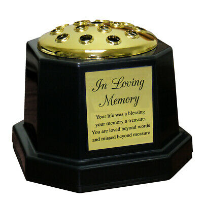 Black Grave Memorial Flower Vase Graveside Pot & Gold In Loving Memory Plaque