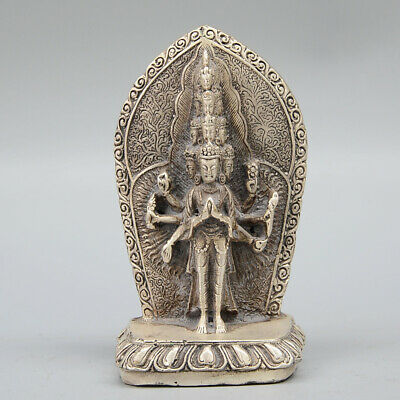 Collectable Old Miao Silver Carve Thousand Hand Kwan-Yin Auspicious Pray Statue