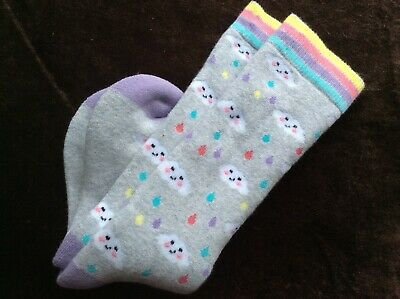 Girls Quality Warm Cosy Cushion Ski  Welly Thermal Boot Socks Rainbow Cloud