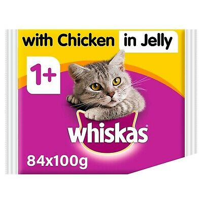 Whiskas Chicken in Jelly Wet Adult 1+ Cat Food Pouches 84 x 100g