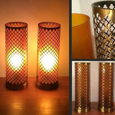 50'S - 60's Vintage Mid-Century Modern Pair of Amber Cylinder Table Lamps