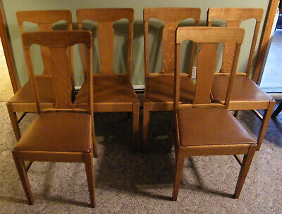 Amazing Set Of 6 Antique Dining Chairs Quartersawn Tiger Oak Short Links Chair Design For Home Short Linksinfo