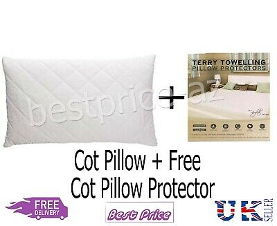 Anti-Allergy Cot Pillow Comfort Nursery Junior Baby+ Free Terry Towel Protector