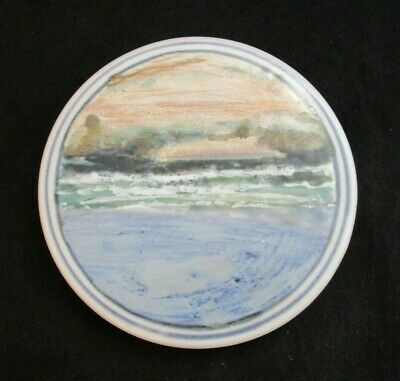 Highland Stoneware Hand Painted Trivet Tea Pot Stand Seascape Made in Scotland