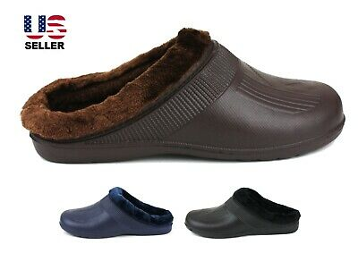 Men Slippers Clogs House Slip on Shoes Sandals Fleece Warm Winter Rubber Nonslip