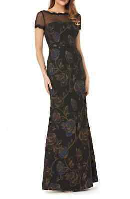 JS Collections Women's Floral Matelasse Illusion Neck Black Gown Dress Size 10