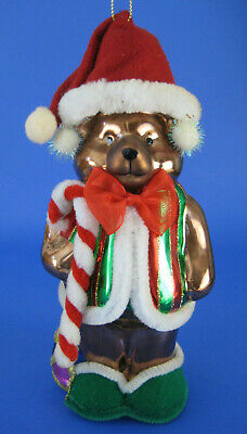 Teddy Bear Large Glass Ornament Thomas Pacconi Drum Candy Cane 2003 Collection