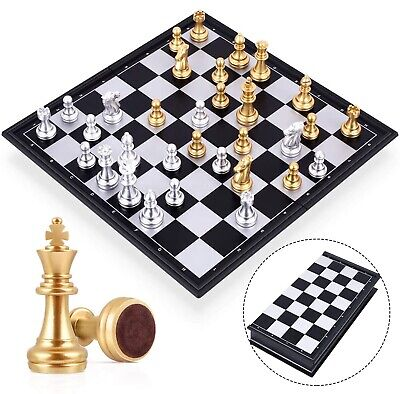 Travel Magnetic Chess Board Set with Gold & Silver Pieces 25cm for Kids Adults