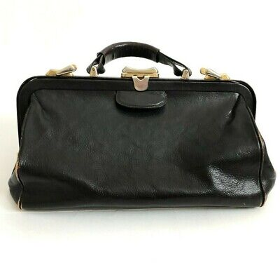 Vintage Distressed Leather Doctor Physician House Call Bag Large Black Italy 60s