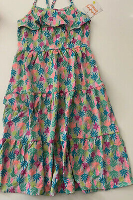 Jumping Beans Girls Tiered Maxi Dress Multi Color Tropical Size 7 8 10 12 Grey