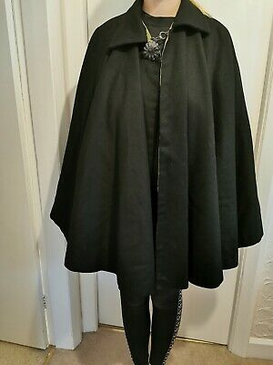 Victorian/Edwardian Cape Cloak Antique Black Heavy Wool with Silk Lining