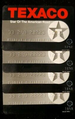4 TEXACO Credit Cards Consecutive Account Numbers Exp 1992♡Free Shipping♡cc74