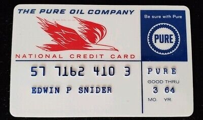 The Pure Oil Company National Credit Card Exp 1964 ♡Free Shipping♡cc201♡