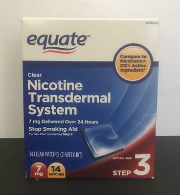 Equate STEP 3 Clear Nicotine Transdermal System, 2Week Kit7mg 14Patches