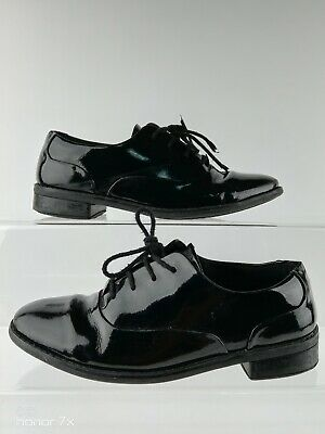 Clarks Black Lace Up Rounded Toe Brogue Patent Leather Shoes Size  3.5 F