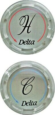 DELTA Faucet Hot & Cold Clear w/Chrome Replacement Button Set - Part# RP19659