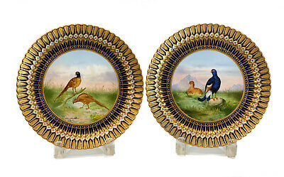 Pair Coalport for Tiffany & Co. Hand Painted Scallop Rimmed Cabinet Plates, 1890